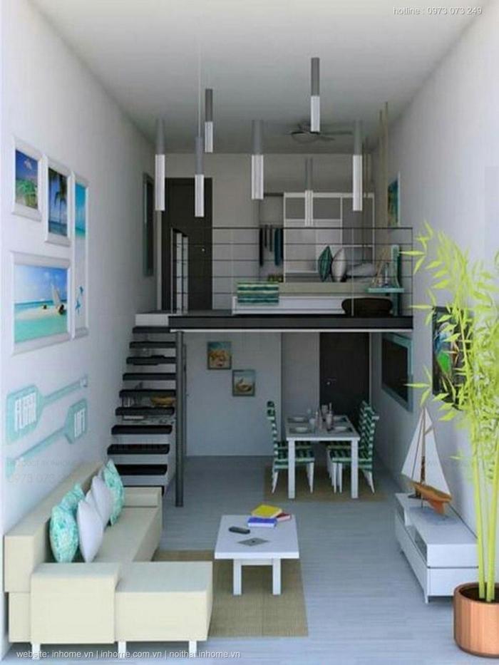 Sử dụng gác lửng làm phòng ngủ tạo sự riêng tư trong nhà cấp 4 diện tích 4x16
