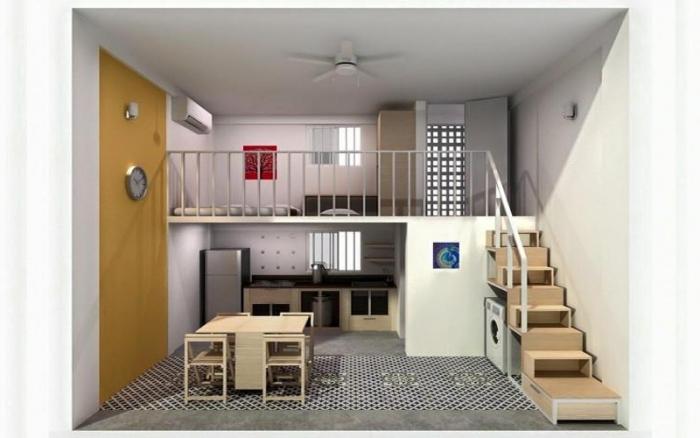 Tăng công năng sử dụng diện tích nhà cấp 4 với gác lửng