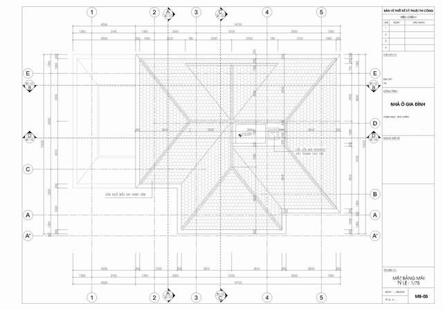 bản vẽ mái biệt thự tân cổ điển 3 tầng 15x19m