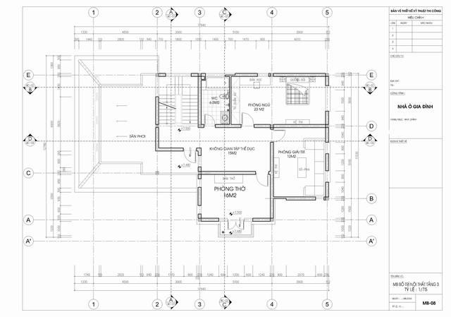 bản vẽ tầng 3 biệt thự tân cổ điển 3 tầng 15x19m