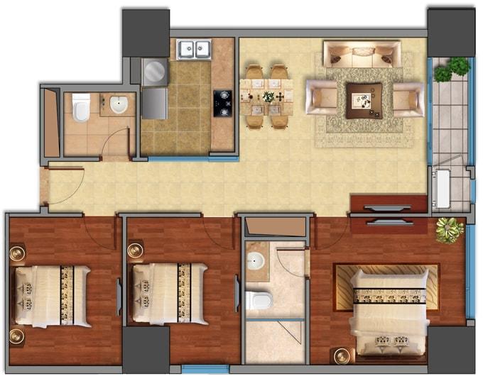 căn hộ 3 phòng ngủ vinhomes smart city
