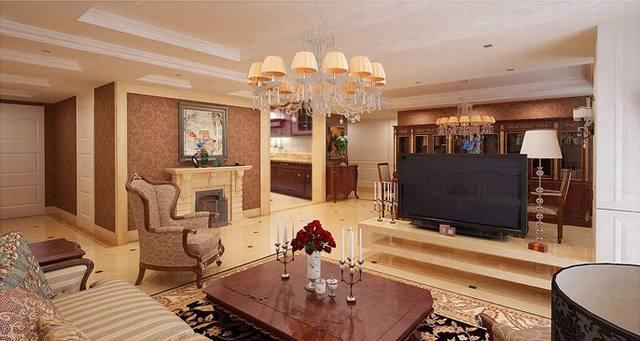 phòng khách tân cổ điển biệt thự 3 tầng 15x19m