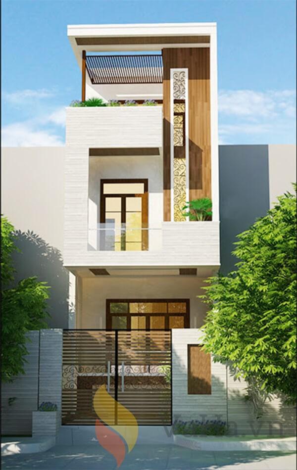 Nhà 3 tầng kết hợp với chất liệu gỗ