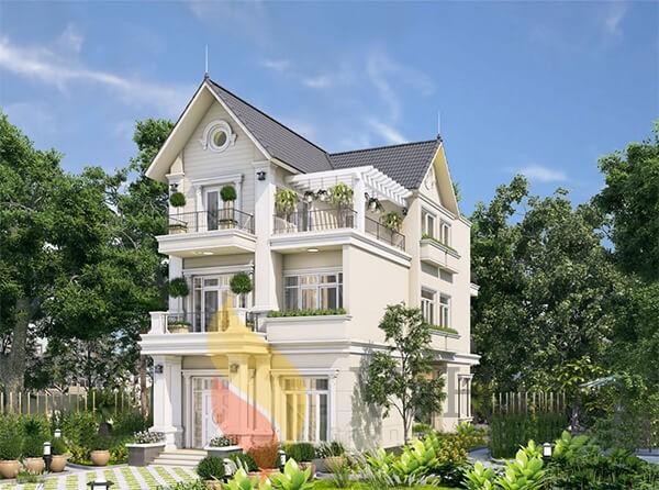 Biệt thự 3 tầng rộng rãi thiết kế theo phong cách châu Âu hiện đại