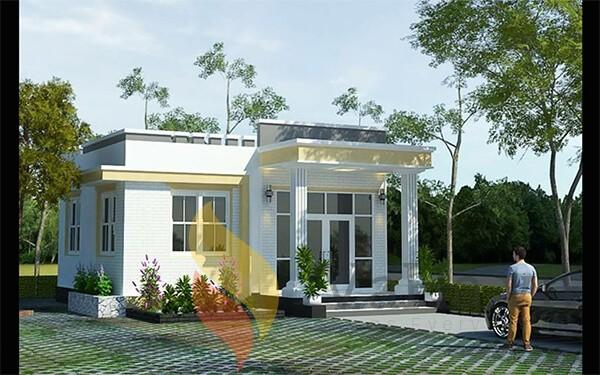 Nhà mái bằng đẹp với 6m mặt tiền