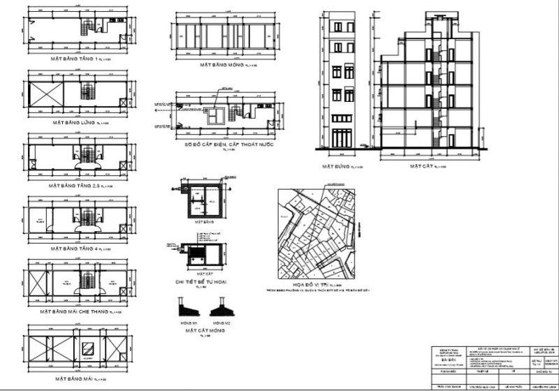 Bản vẽ xin phép xây dựng để tính diện tích xây dựng.