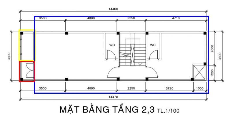 Tính diện tích xây dựng cho sàn nhà và ban công.