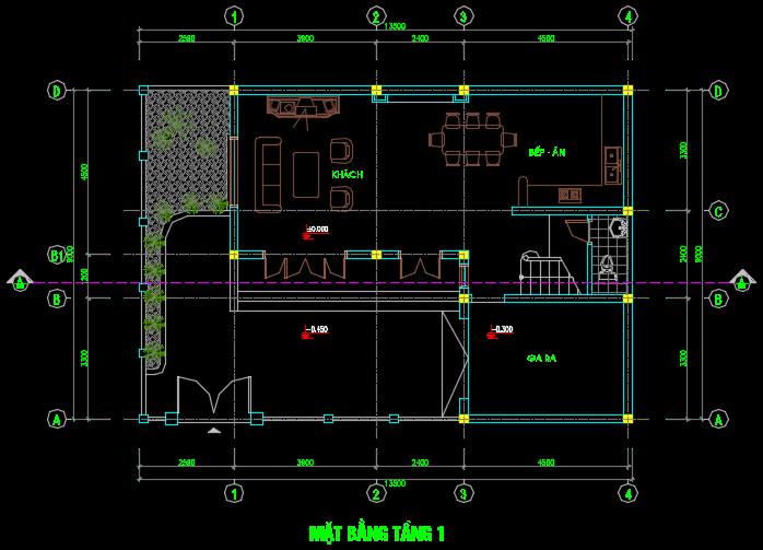 Nhà biệt thự 2 tầng 13.5x9m